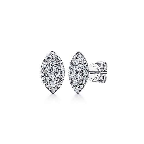 14K White Gold Pavé Diamond Marquise Shape Stud Earrings