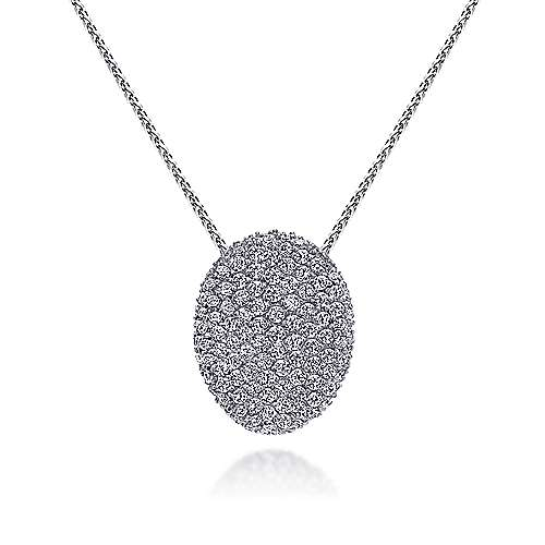 14K White Gold Pavé Diamond Oval Pendant Necklace