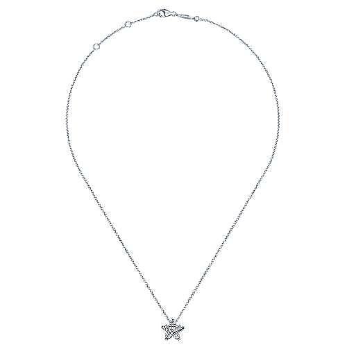 14K White Gold Pavé Diamond Star Pendant Necklace