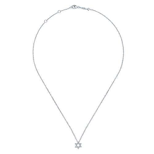 14K White Gold Pavé Diamond Star of David Pendant Necklace