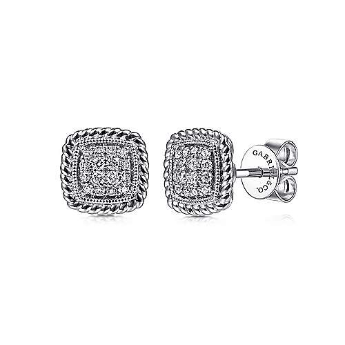 14K White Gold Pavé Diamond Stud Earrings with Twisted Rope Frame