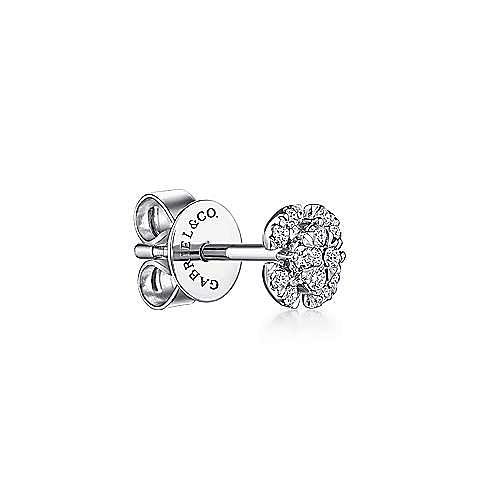 14K White Gold Pavé Diamond Stud Single Earring