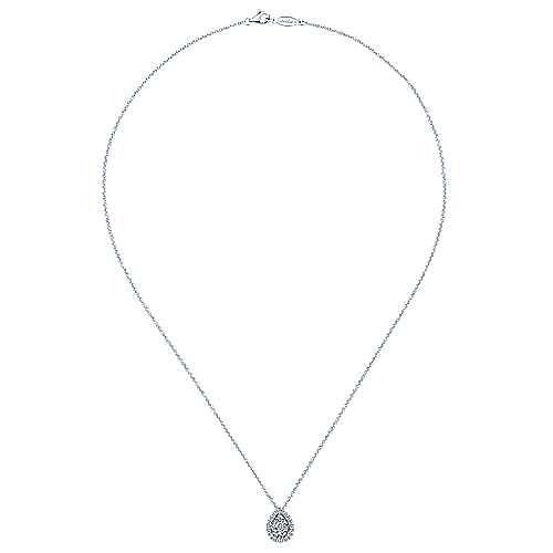 14K White Gold Pavé Diamond Teardrop Pendant Necklace