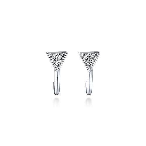14K White Gold Pavé Diamond Triangle J Back Stud Earrings