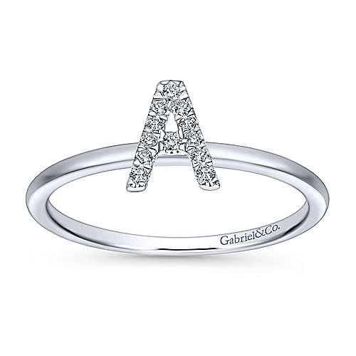 14K White Gold Pavé Diamond Uppercase A Initial Ring