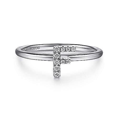 14K White Gold Pavé Diamond Uppercase F Initial Ring