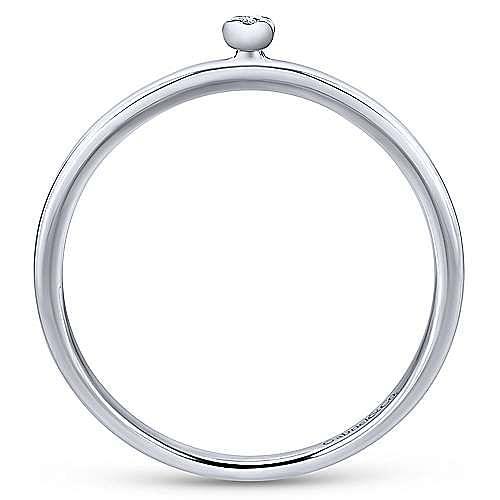 14K White Gold Pavé Diamond Uppercase I Initial Ring