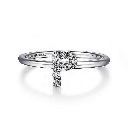 14K White Gold Pavé Diamond Uppercase P Initial Ring