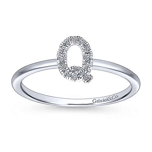 14K White Gold Pavé Diamond Uppercase Q Initial Ring