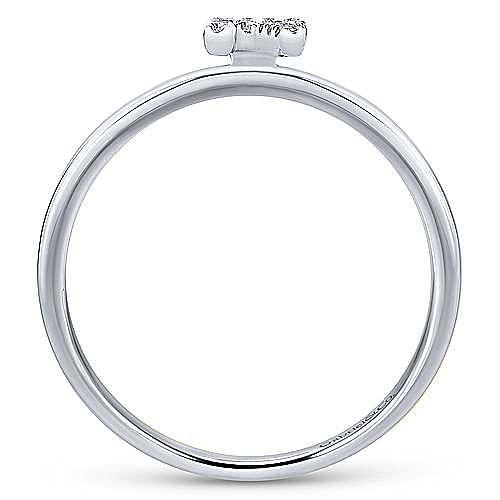 14K White Gold Pavé Diamond Uppercase R Initial Ring