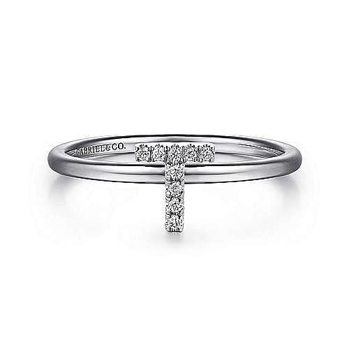 14K White Gold Pavé Diamond Uppercase T Initial Ring
