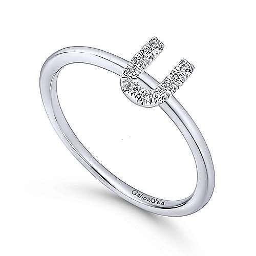 14K White Gold Pavé Diamond Uppercase U Initial Ring