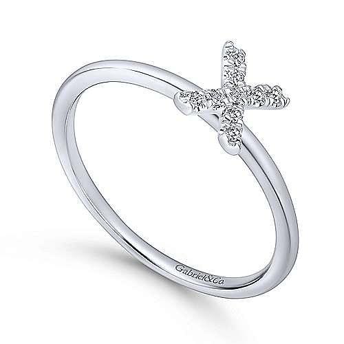 14K White Gold Pavé Diamond Uppercase X Initial Ring