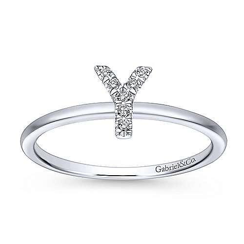 14K White Gold Pavé Diamond Uppercase Y Initial Ring