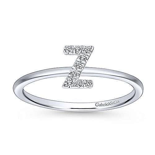 14K White Gold Pavé Diamond Uppercase Z Initial Ring
