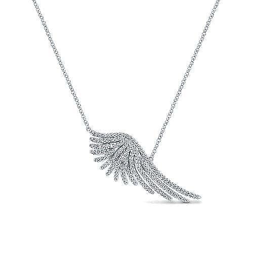 14K White Gold Pavé Diamond Wing Pendant Necklace