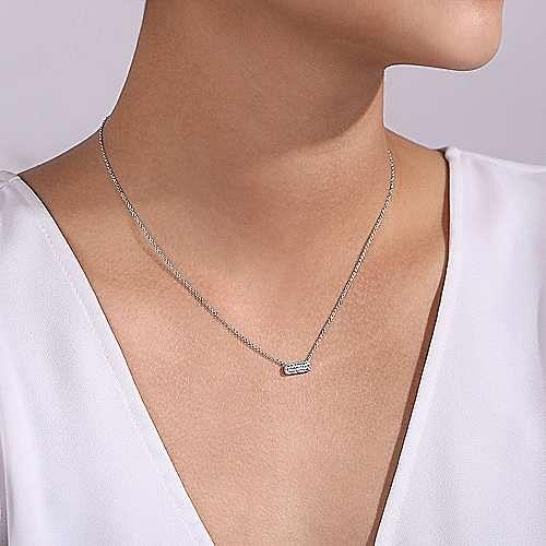 14K White Gold Pave Diamond Bar Necklace
