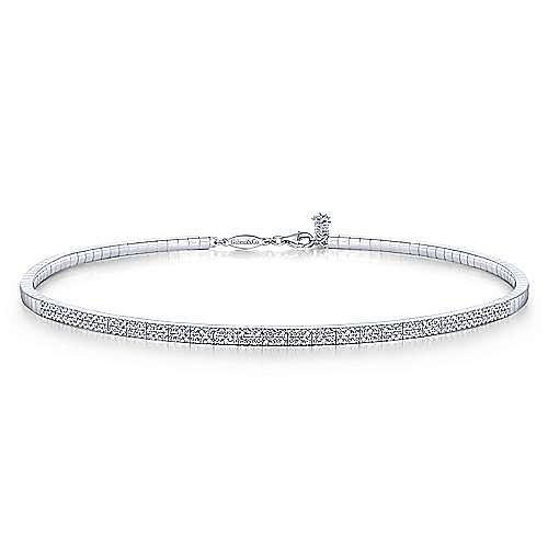 14K White Gold Pave Diamond Choker  Necklace