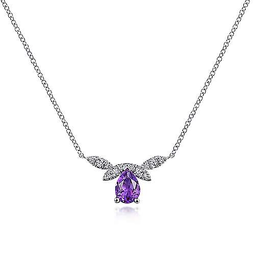 14K White Gold Pear Shape Amethyst and Diamond Bar Necklace