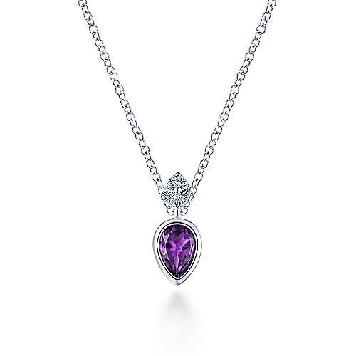 14K White Gold Pear Shape Amethyst with Diamond Accents Pendant Necklace
