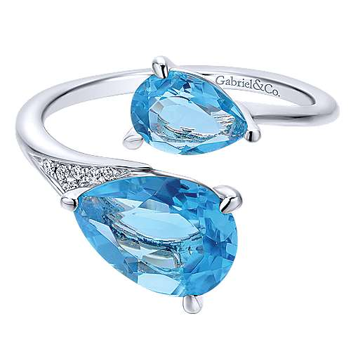 14K White Gold Pear Shape Blue Topaz Split Ring with Diamond Accents
