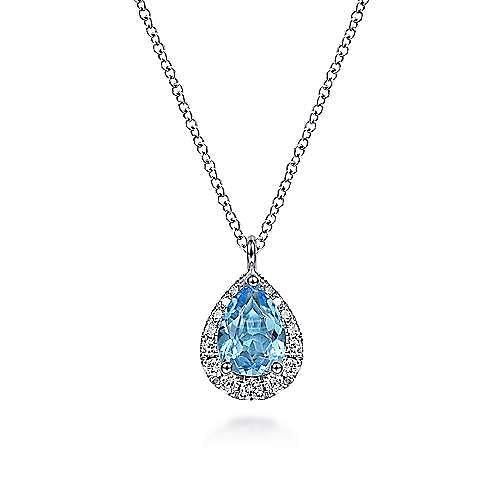 14K White Gold Pear Shape Blue Topaz and Diamond Halo Pendant Necklace