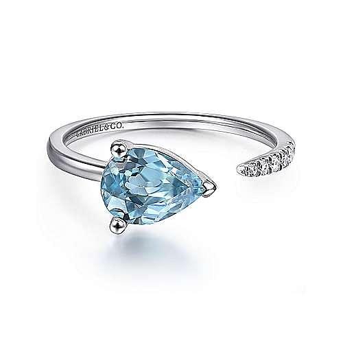 14K White Gold Pear Shape Blue Topaz and Diamond Split Ring