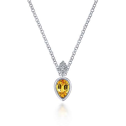 14K White Gold Pear Shape Citrine Pendant Necklace with Diamond Accents