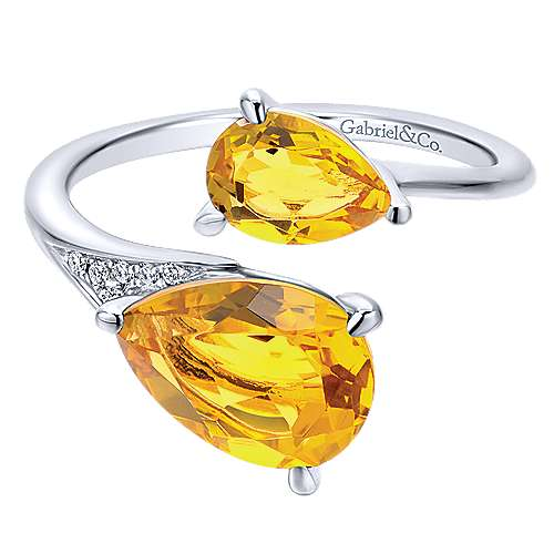 14K White Gold Pear Shape Citrine Split Ring with Diamond Accents