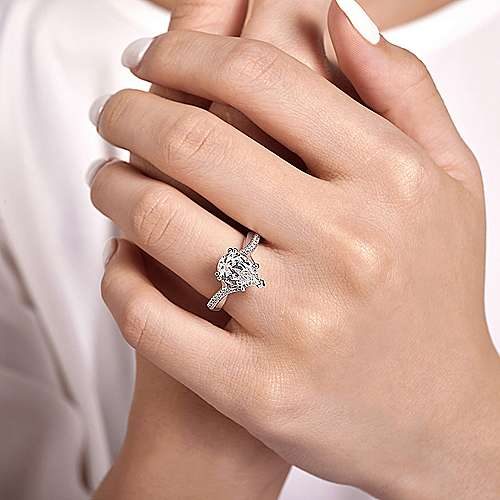 14K White Gold Pear Shape Diamond Engagement Ring