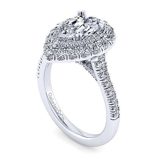 14K White Gold Pear Shape Diamond Engagement Ring
