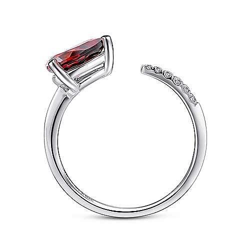 14K White Gold Pear Shape Garnet and Diamond Split Ring
