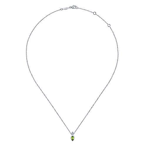 14K White Gold Pear Shape Peridot Pendant Necklace with Diamond Accents