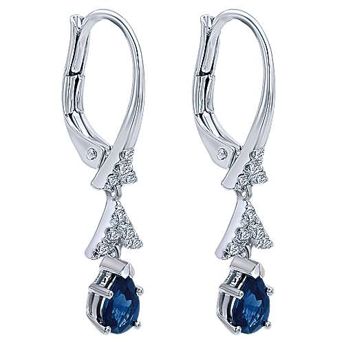 14K White Gold Pear Shape Sapphire and Diamond Accent Drop Earrings