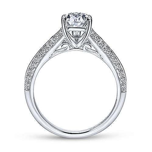 14K White Gold Pear Shape Split Shank Diamond Engagement Ring