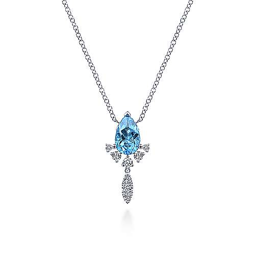 14K White Gold Pear Shape Swiss Blue Topaz and Diamond Drop Pendant Necklace
