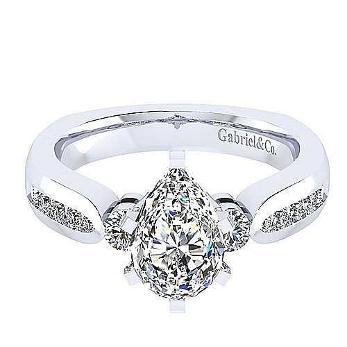 14K White Gold Pear Shape Three Stone Diamond Engagement Ring