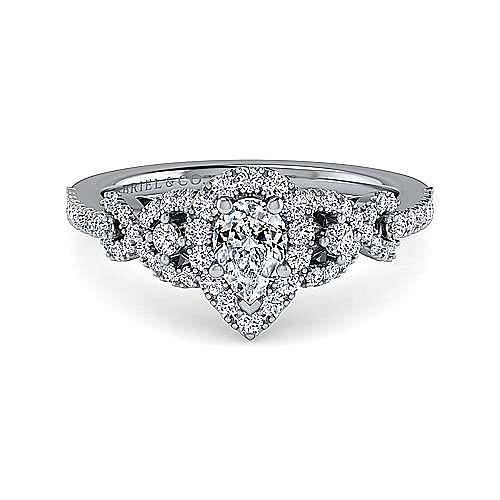 14K White Gold Pear Shape Three Stone Halo Diamond Engagement Ring