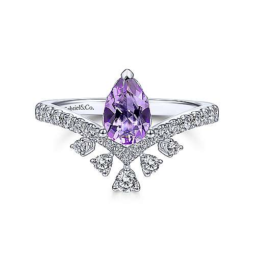 14K White Gold Pear Shaped Amethyst Ring with Diamond Burst