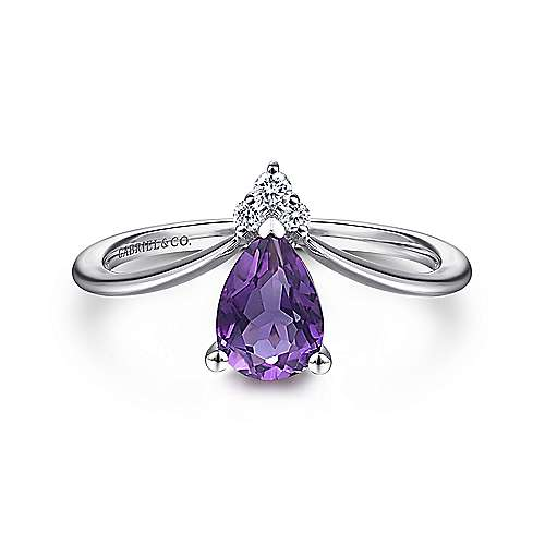 14K White Gold Pear Shaped Amethyst and Diamond Ring