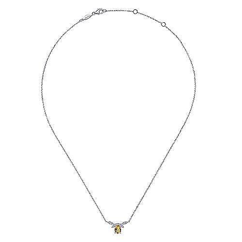 14K White Gold Pear Shaped Citrine Diamond Petal Necklace