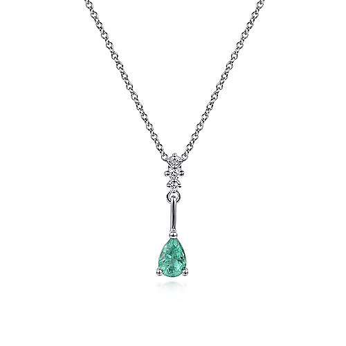 14K White Gold Pear Shaped Emerald and Diamond Drop Pendant Necklace