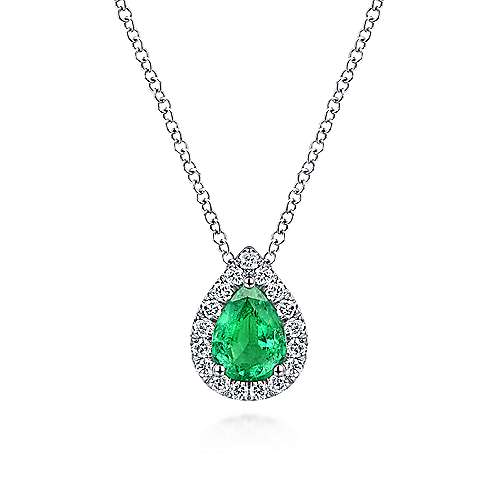 14K White Gold Pear Shaped Emerald and Diamond Halo Pendant Necklace