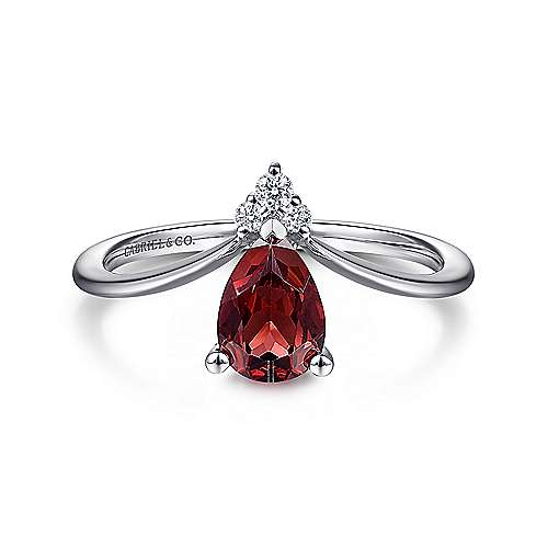 14K White Gold Pear Shaped Garnet and Diamond Ring