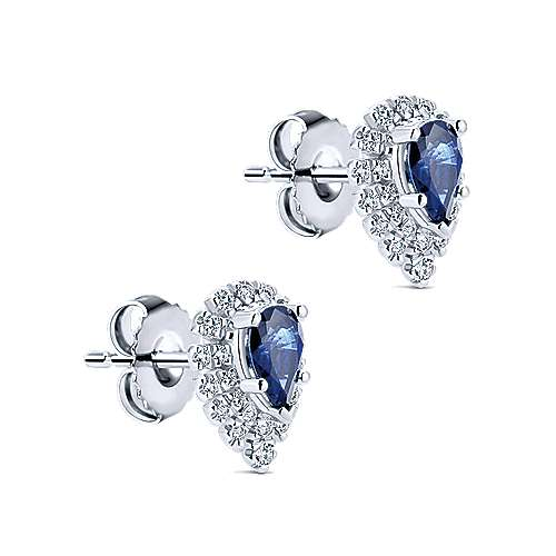 14K White Gold Pear Shaped Halo Diamond and Sapphire Stud Earrings