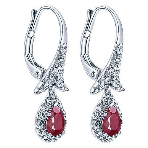 14K White Gold Pear Shaped Ruby and Diamond Drop Earrings