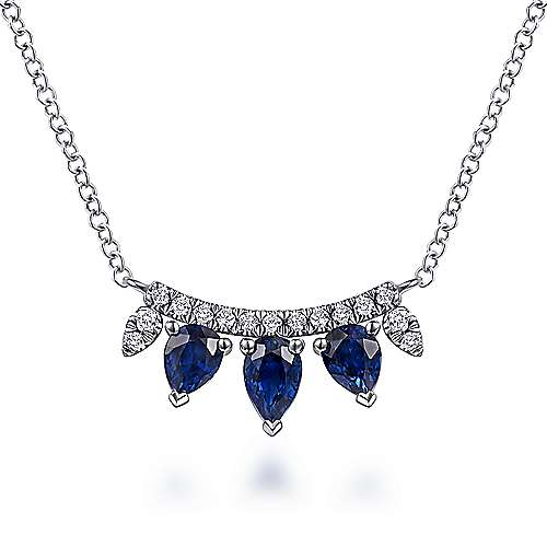 14K White Gold Pear Shaped Sapphire and Diamond Bar Pendant Necklace
