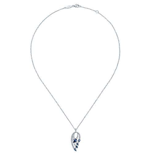 14K White Gold Pear Shaped Sapphire and Diamond Curved Pendant Necklace