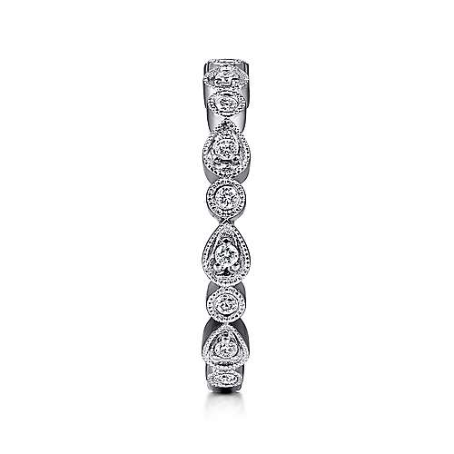 14K White Gold Pear and Round Station Stackable Diamond Ring