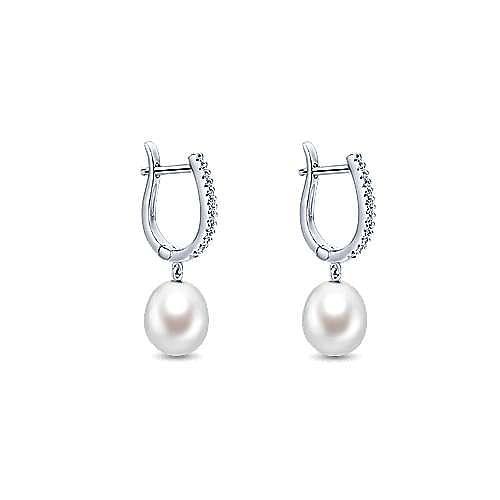 14K White Gold Pearl Drop Diamond Huggies
